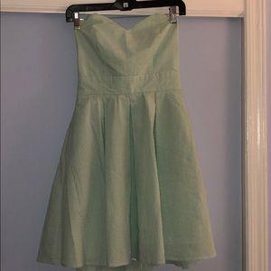 Lauren James Green Seersucker Strapless dress